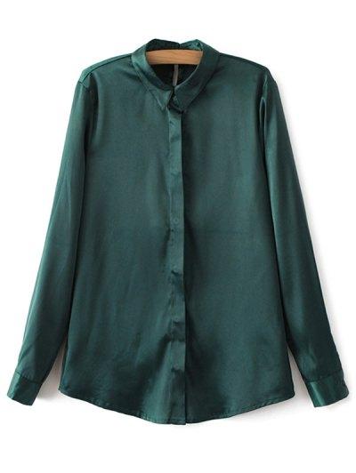 Satin Boyfriend Shirt - GREEN M Mobile
