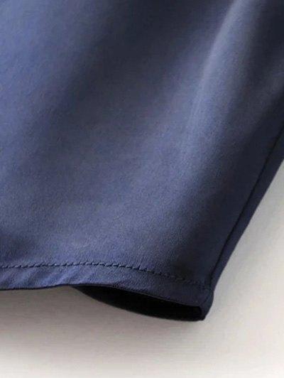 Satin Boyfriend Shirt - GREEN L Mobile