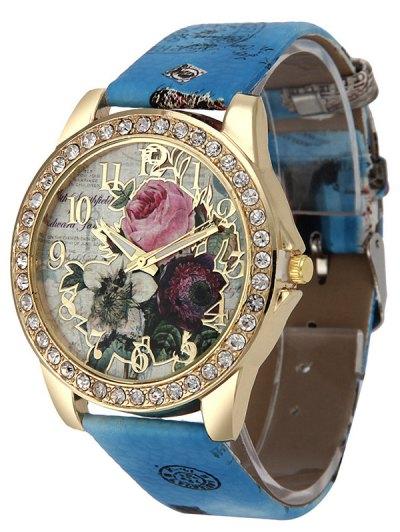 Rhinestone Faux Leather Rose Quartz Watch - BLUE  Mobile