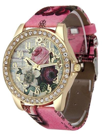 Rhinestone Faux Leather Rose Quartz Watch - TUTTI FRUTTI  Mobile