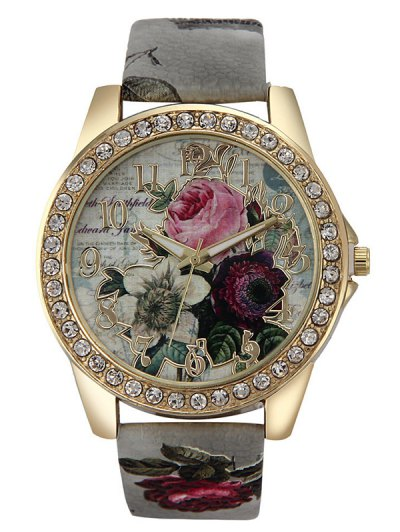 Rhinestone Faux Leather Rose Quartz Watch - GRAY  Mobile