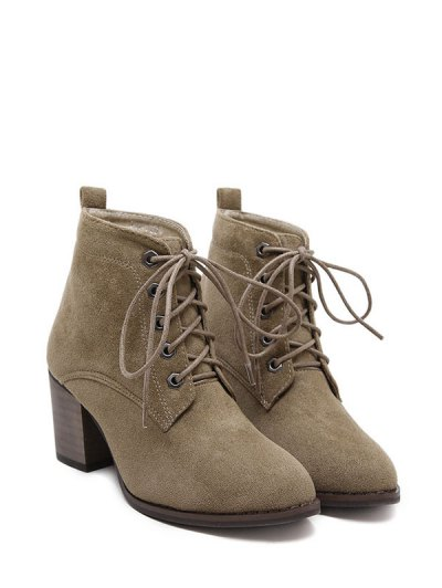 Block Heel Tie Up Suede Ankle Boots - DARK KHAKI 39 Mobile