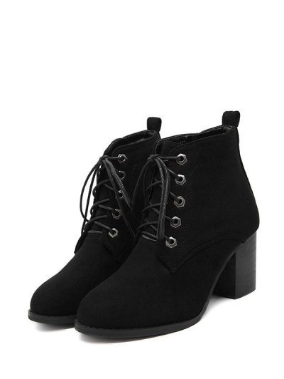 Block Heel Tie Up Suede Ankle Boots - BLACK 38 Mobile