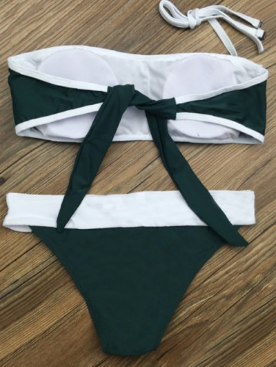 Color Block Star Patched Bikini Set - GREEN M Mobile