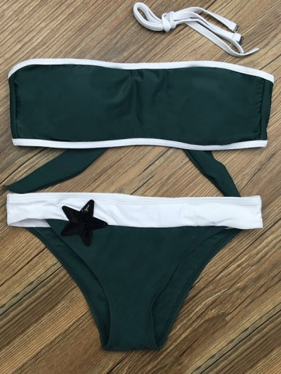 Color Block Star Patched Bikini Set - GREEN S Mobile