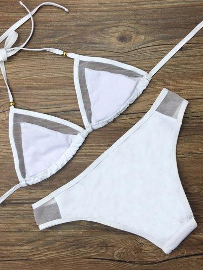 Voile Panel See-Through Bikini Set - WHITE S Mobile