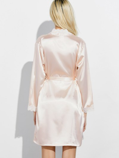 Lace Panel Sleep Wrap Robe - CHAMPAGNE M Mobile