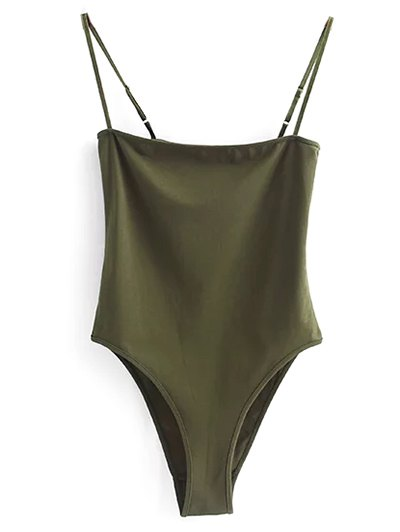 Camisole Bodysuit - ARMY GREEN M Mobile