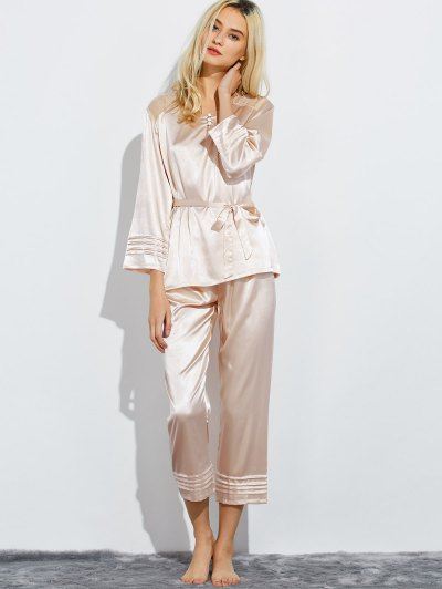 Lace Panel Bowknot Nightwear Pajamas - CHAMPAGNE XL Mobile