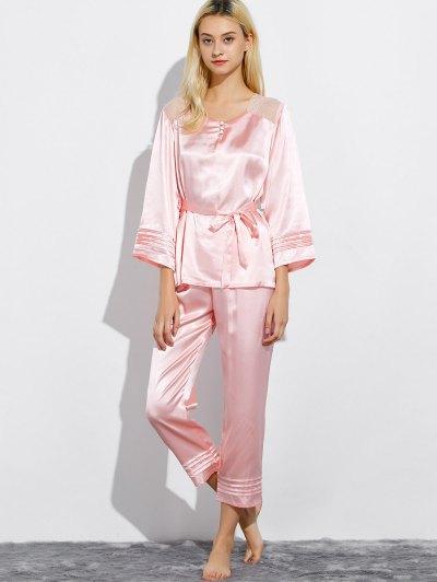 Lace Panel Bowknot Nightwear Pajamas - LIGHT PINK XL Mobile
