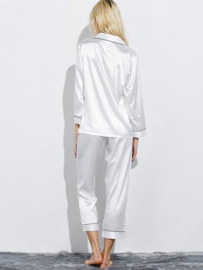 Fitting Silk Nightwear Pajamas - WHITE M Mobile