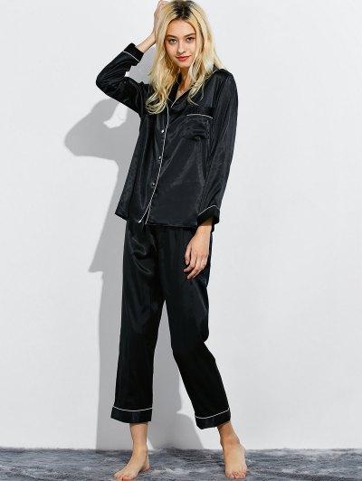 Fitting Silk Nightwear Pajamas - BLACK L Mobile