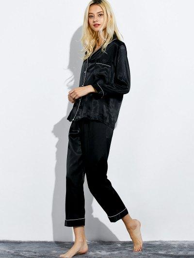 Fitting Silk Nightwear Pajamas - BLACK M Mobile