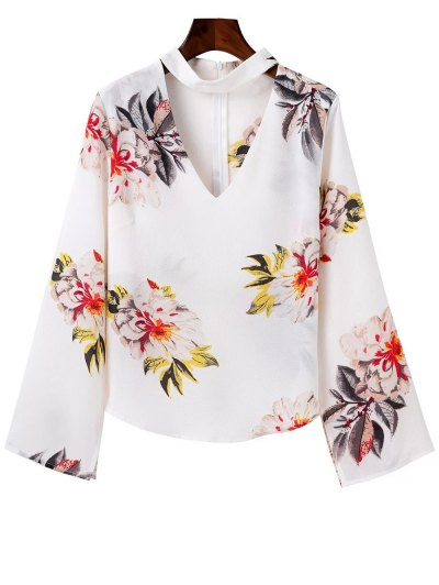 Bell Sleeve Floral Choker Top - White