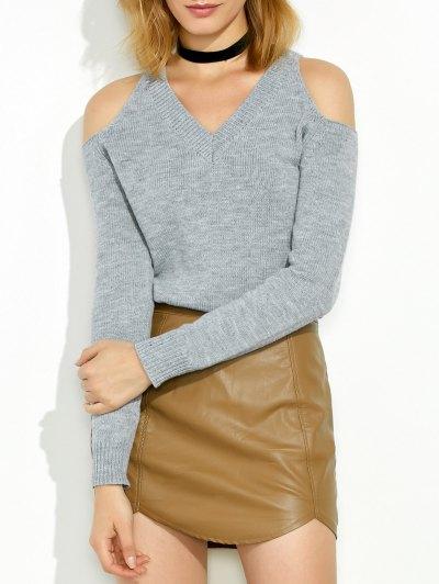 Cold Shoulder V Neck Pullover Sweater - Gray