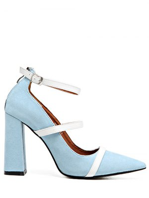 Strappy Zipper Chunky Heel Pumps - Light Blue