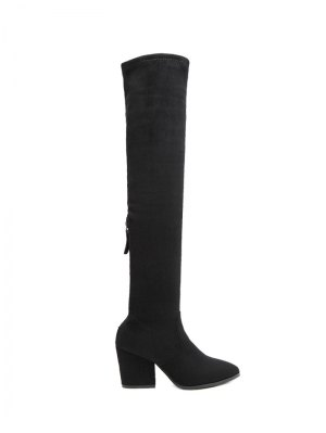 Chunky Heel Pointed Toe Zip Thigh Boots - Black