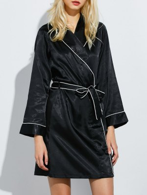 Bowknot Wrap Sleep Robe - Black