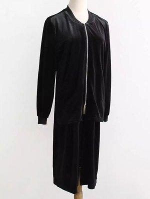 Pleuche Longline Coat - Black