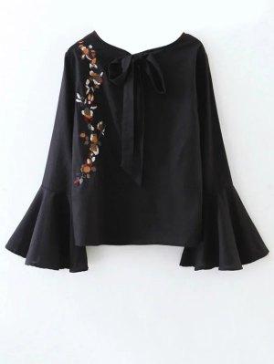 Recortable La Llamarada De La Manga De La Blusa Floral Atado - Negro