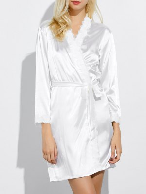 Lace Panel Sleep Wrap Robe - White
