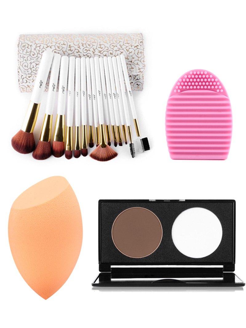 15 pcs Makeup Brushes Kit + Pressed Powder Kit + Beauty Blender + Brush Egg