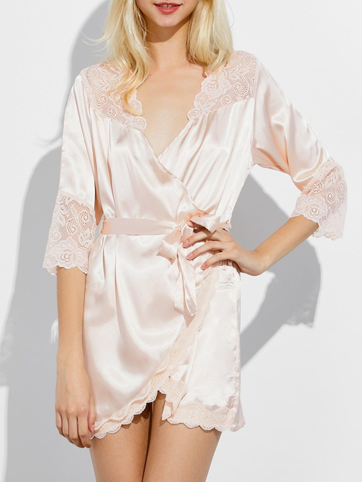Lace Insert Wrap Sleep Robe