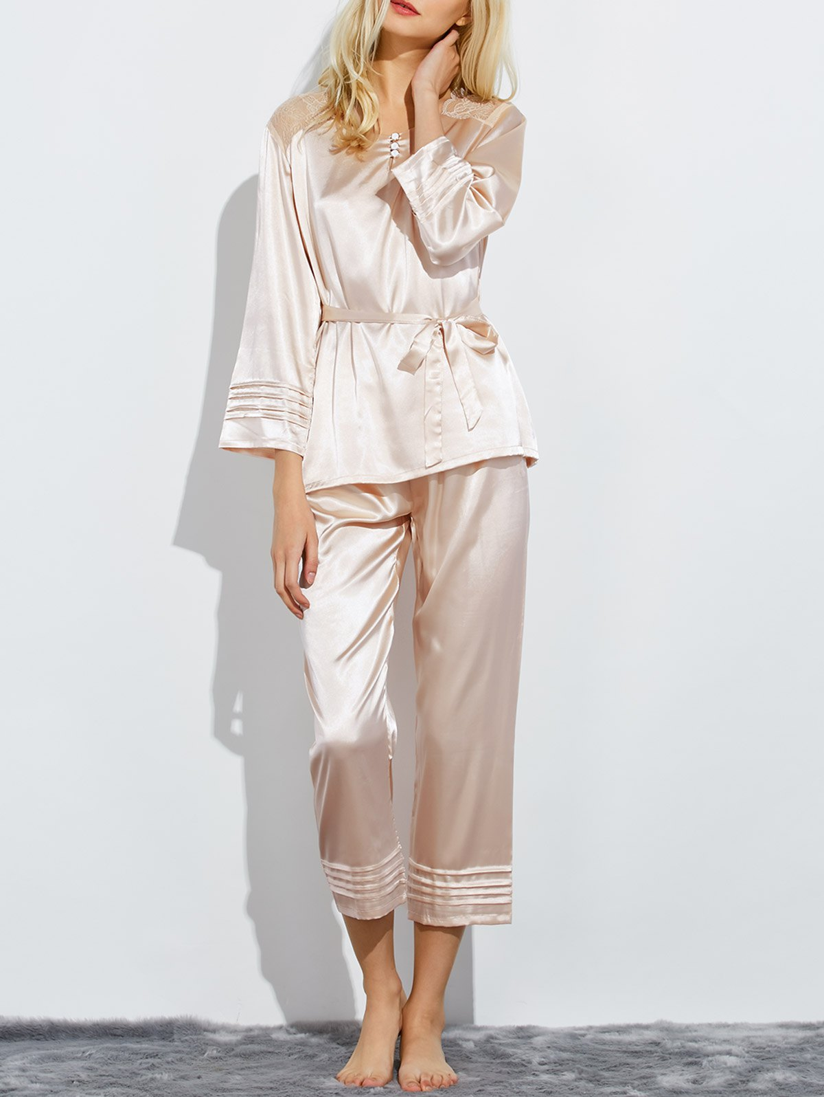 Belted Lace Panel Nightwear Pajamas