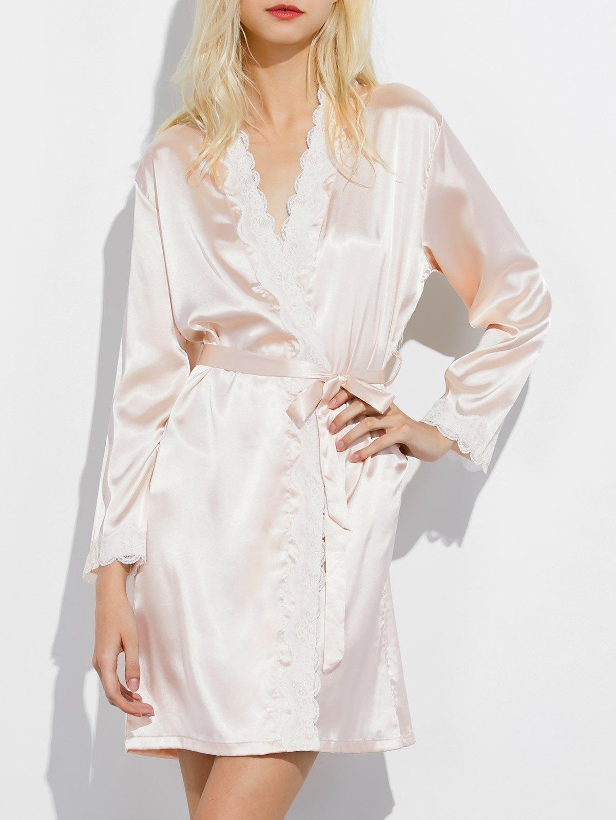Lace Panel Wrap Sleep Robe