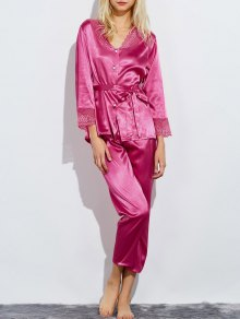 Belted Lace Insert Nightwear Pajamas - Rose Red Xl