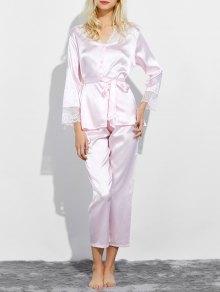 Belted Lace Insert Nightwear Pajamas