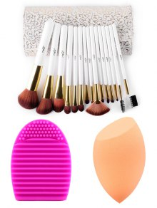 Makeup Brushes Kit + Makeup Sponge+ Brush Egg