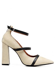 Strappy Zipper Chunky Heel Pumps - Light Khaki
