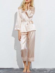 Pyjamas de nuit avec panel en dentelle avec nœud papillon