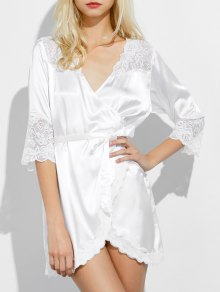 Wrap Lace Panel Sleep Robe