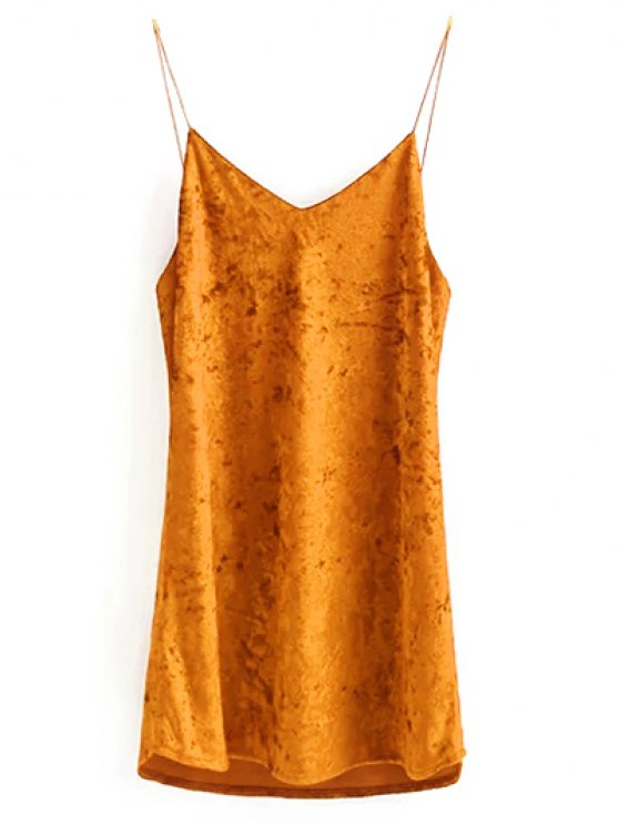 Crushed Velvet Cami Dress - CITRUS M Mobile