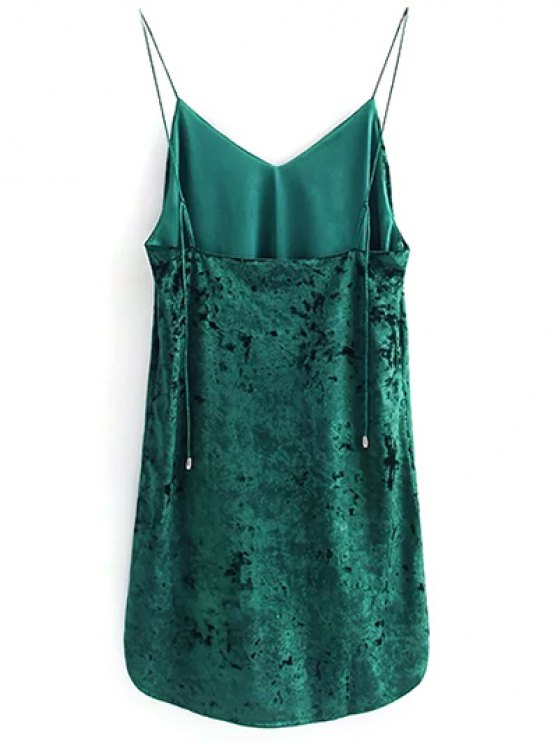 Crushed Velvet Cami Dress - BLACKISH GREEN M Mobile