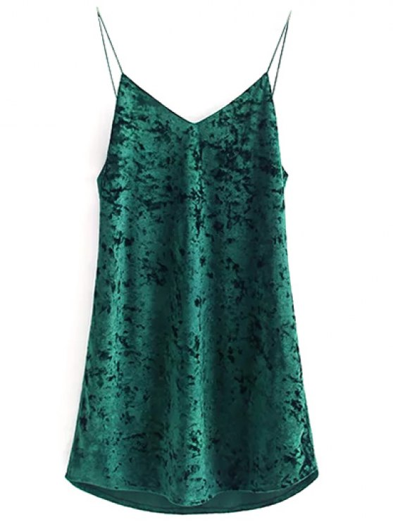 ladies Crushed Velvet Cami Dress - BLACKISH GREEN S