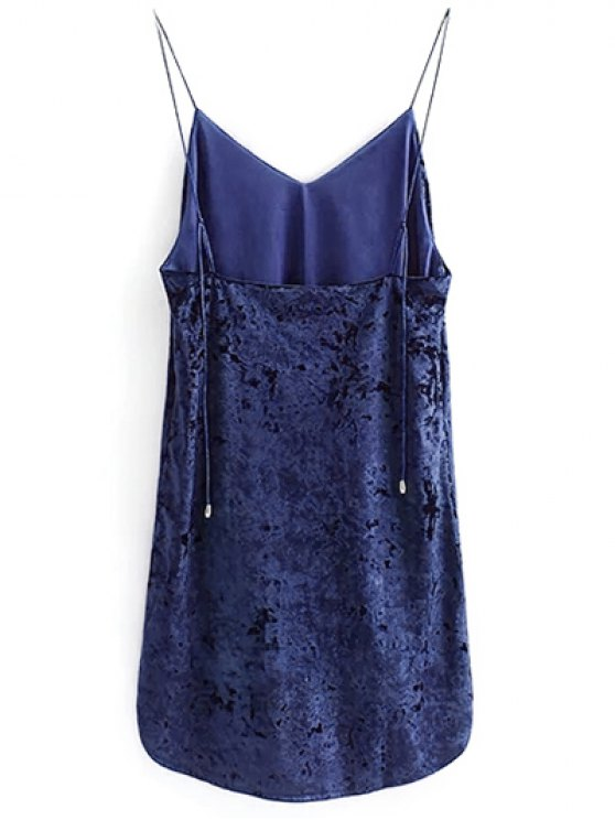 Crushed Velvet Cami Dress - CADETBLUE M Mobile