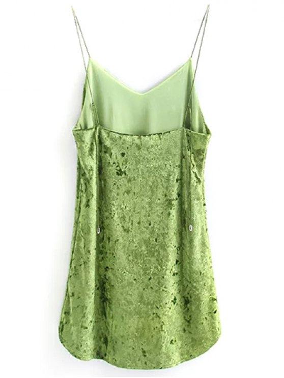 Crushed Velvet Cami Dress - GREEN M Mobile