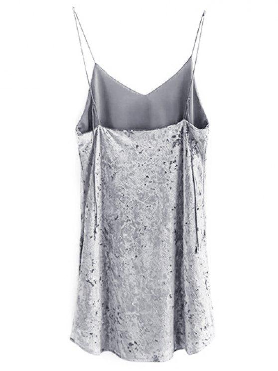Crushed Velvet Cami Dress - GRAY M Mobile