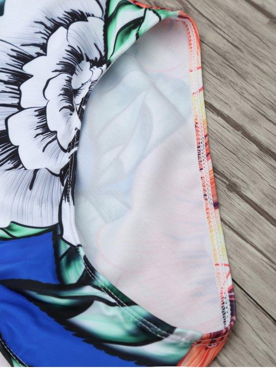 Square Neck Floral Swimwear - FLORAL XL Mobile