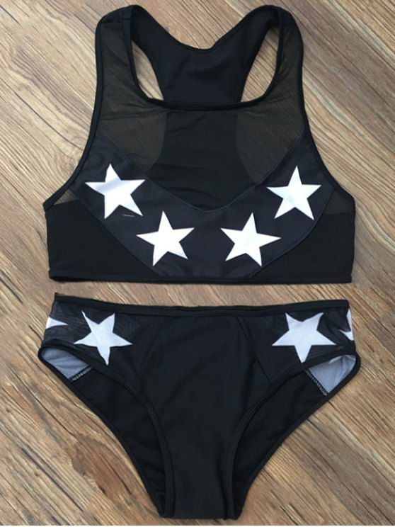 Star Mesh Panel Racerback Transparent Swimsuit - BLACK XL Mobile