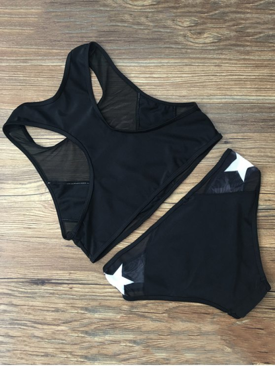 Star Mesh Panel Racerback Transparent Swimsuit - BLACK L Mobile