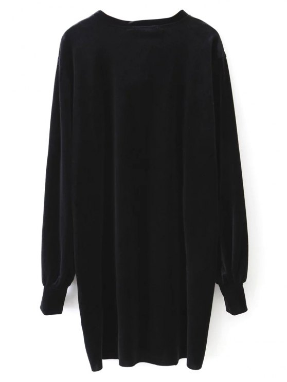 Long Sleeve Velvet Straight Dress - BLACK M Mobile