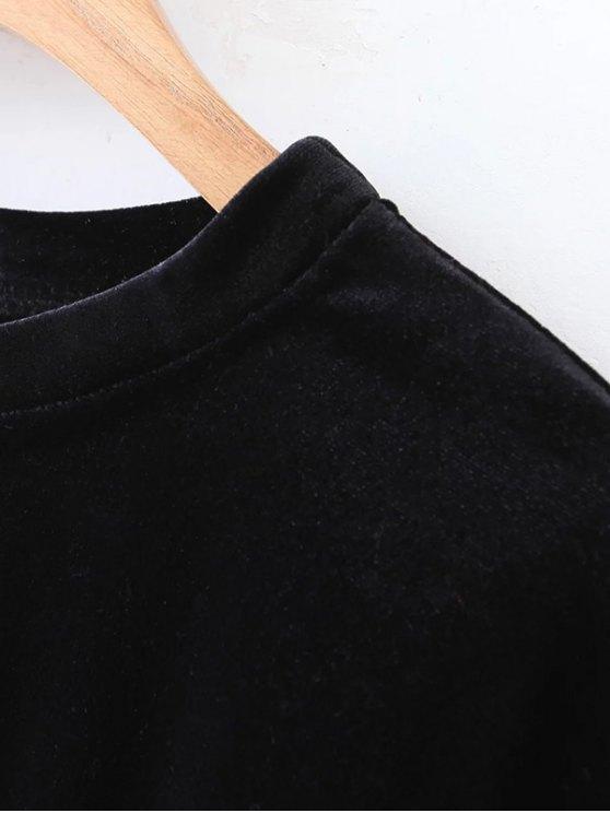 Long Sleeve Velvet Straight Dress - RED M Mobile