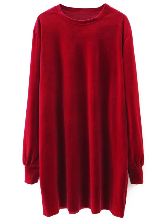 lady Long Sleeve Velvet Straight Dress - RED M
