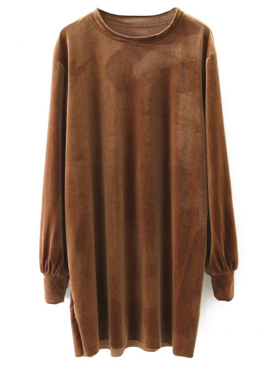 Long Sleeve Velvet Straight Dress - BROWN M Mobile