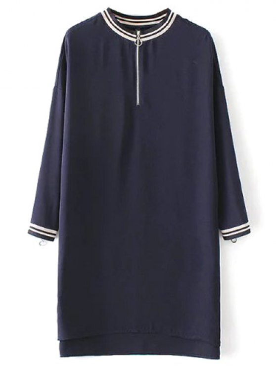 shop Half Zip High-Low Straight Dress - PURPLISH BLUE S