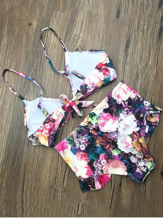 Front Tie Floral Ruffle Hem Bikini Set - FLORAL M Mobile